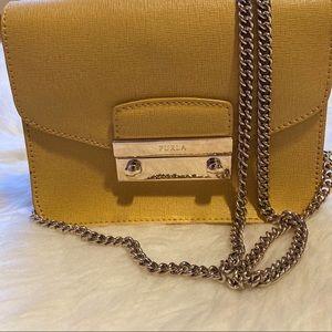 Furla yellow leather crossbody chain mini bag
